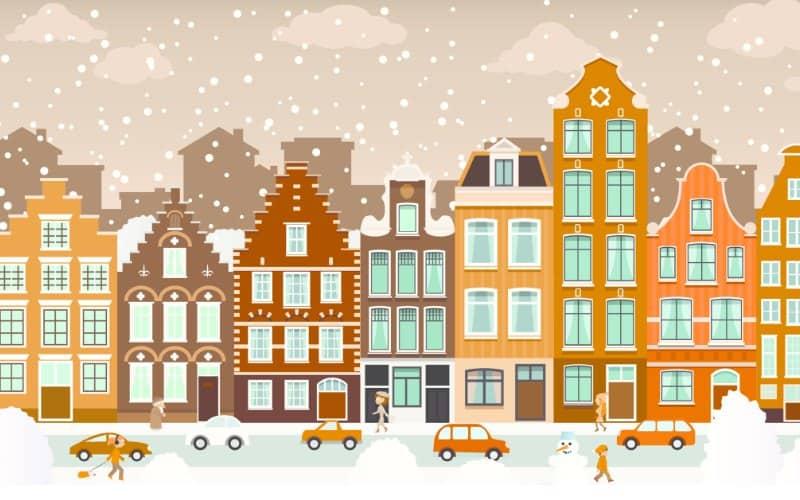 ciudad de dibujos animados cuando nieva