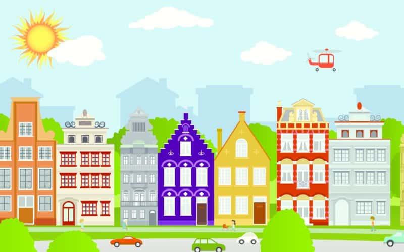 ciudad de dibujos animados durante un día soleado