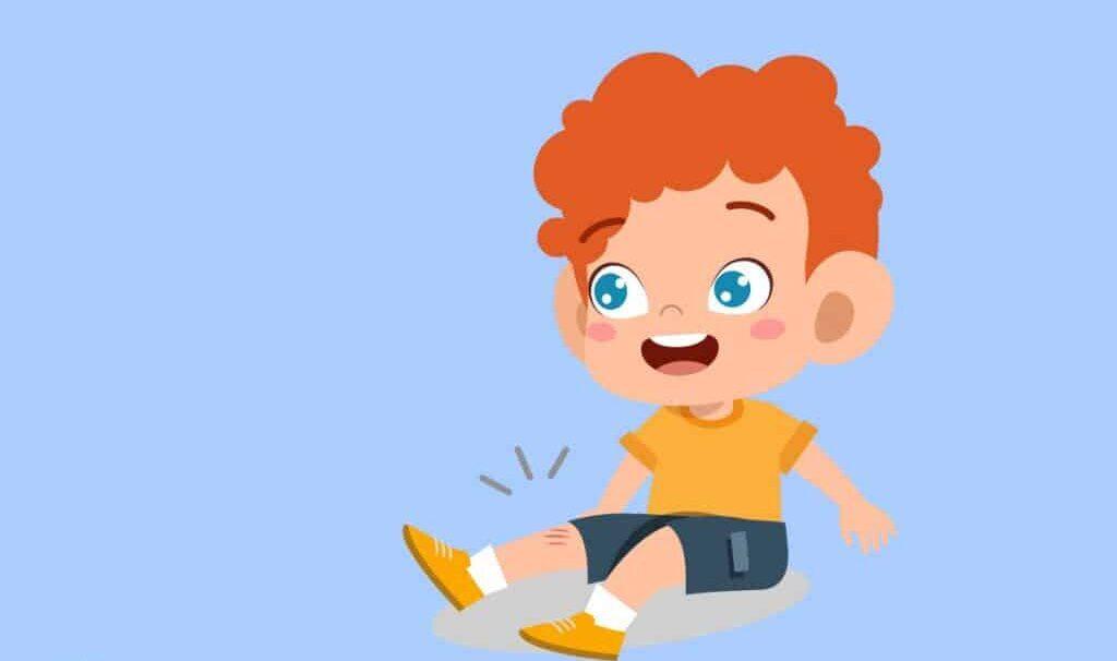 un niño se cae, se hace daño en la rodilla pero sigue sonriendo. la definición de resiliencia es el proceso de afrontar el estrés y recuperarse de un trauma o adversidad